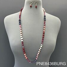 Fashionable Long Red Jasper Stone Beaded Boho Style Necklace with Earrings