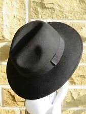 1940s Forties Inspired Black 100% Wool Fedora Large Trilby Hat sz XL