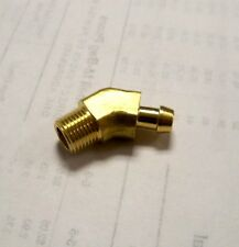 """45 deg 1/4 in hose barb x 1/8"""" NPT threaded brass elbow fitting yellow air water"""