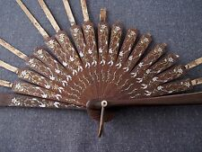 Antique Early 1900'S Hand Painted Flowers & Leaves Wooden Huge Hand Fan