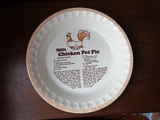 "1981 vtg collectible 11"" ceramic CHICKEN POT PIE recipe plate Watkins bakeware"