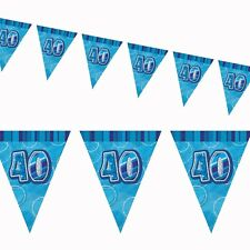 12ft Blue Sparkle Happy 40th Birthday Pennant Flag Banner Party Decoration