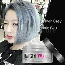 Popular Men Women Silver Grey Wax Hair Pomade Gel Mud Long-lasting Hairstyle