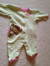 Carter's 3 months baby girl newborn sleep and play monkey 100% cotton one piece
