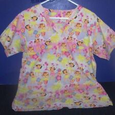 Women's Scrubs - Top sz Small - Pink with Hula Girls 2 Pockets