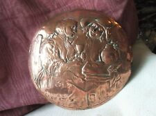 VINTAGE COPPER REPOUSSE DISC DOME MAN WOMAN TAVERN SCENE DEEP DESIGN 8.5""