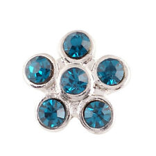1 PC - 12MM Blue Flower Rhinestone Silver Charm for Snap Jewelry KS6004-s CC2504