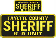 fayette county sheriff k9 unit embroidery patches 4x10 and 2x5 hook on back