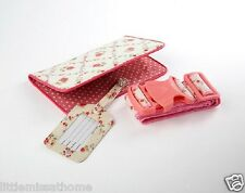 PASSPORT HOLDER, TRAVEL STRAP & LUGGAGE TAG SET  PINK DOT FLORAL DOCUMENT WALLET
