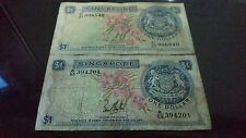 2 Singapore Orchid $1 note (different signature)