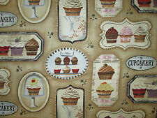 CUP CAKES CUPCAKES BAKERY TAN DESSERT COTTON FABRIC BTHY