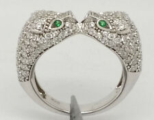 Platinum over 925 Sterling Silver Kissing Panthers Ring Size 6 Retails $350