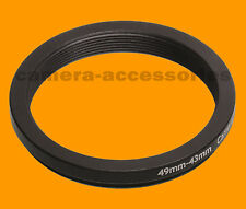 49mm to 43mm 49-43 Stepping Step Down Filter Ring Adapter 49-43mm 49mm-43mm M-F