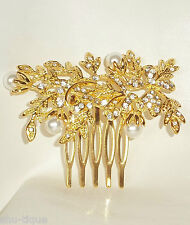 WOMENS GOLD COLOUR DIAMANTE & PEARL VINTAGE STYLE HAIR COMB BRIDAL WEDDINGS PROM