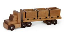 Flatbed Tractor Trailer Wood SKID TOY TRUCK w Crates Pallets Homeschool Waldorf