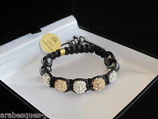 BEST QUALITY BABY/CHILDS SHAMBALLA BRACELET PEACH/WHITE GENUINE CRYSTAL/HEMATITE