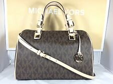 NWT Authentic Michael Kors Brown Signature PVC Grayson Large Satchel Bag Tote