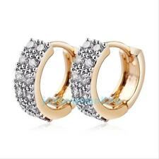 Womens Gold Plated Zircon Cryatal Ear Hoop Huggie Studs Earrings Fashion Jewelry