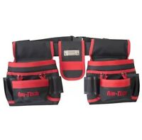 Double Tool Belt & Nail Pouch 20 pockets with tape measure & 2 Hammer holder New