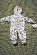 new baby girls carters animal print faux fur trimmed snowsuit size 6-9 months