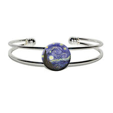 Starry Night by Vincent Van Gogh - Silver Plated Metal Cuff Bangle Bracelet
