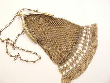 Beautiful Vtg Brass Cathedral Kiss Lock Chain Mail Chainmail  Purse / Accessory