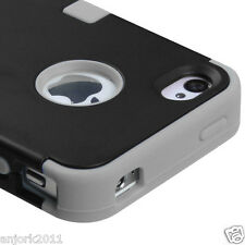 iPhone 4 4S Hybrid T Armor Snap-On Hard Case Skin Cover Black Gray