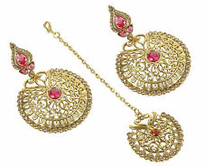 10206P Bollywood Wedding Earring Maang Tikka Set Crystal Stone Indian Jewelry