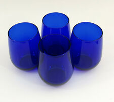 "Cobalt Blue Set of 4 Stemless Glass Wine Glasses 4-1/2"" Tall"