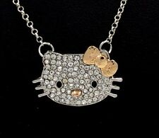 HELLO KITTY CRYSTAL CHARM PENDANT SILVER TONE CHAIN NECKLACE GOLD BOW NEW