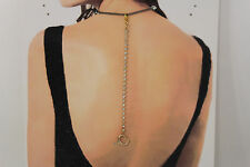 Women Back Pendant Necklace Gold Metal Chains Fashion Jewelry Heart Rhinestones