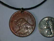 UNUSUAL AUSTRALIA KANGAROO PENNY COIN PENDANT QUEEN JEWELRY PENDANT NECKLACE