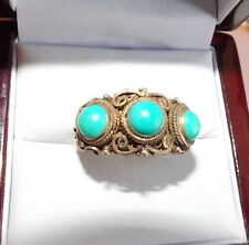 Vintage Silver Gold Plated Etruscan Filigree Ornate Turquoise 3 Stone Ring 11g37