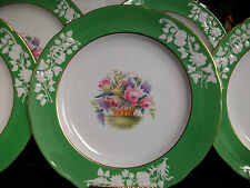 SPODE #R9017-FLORAL BASKET (1920's+) DINNER PLATE(S)-GREEN/WHITE/GILT-EXCELLENT!
