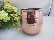 Hammered copper Mosow Mule bar ware mug with brass handle