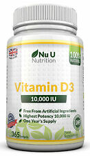 Vitamin D3 10000 iu +365 Soft Gels +100% Money Back Guarantee +Free Delivery
