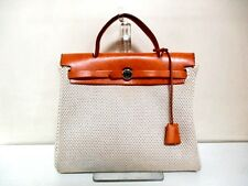 Authentic HERMES Beige Brown Her Bag PM Toile GM Box Calf Handbag w/ Strap