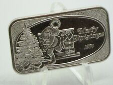 USSC 1974 MERRY CHRISTMAS ~SANTA, CHIMNEY & STOCKINGS WITH GIFTS ~SILVER ART BAR