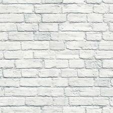 Wallpaper Designer White and Gray Washed Brick Wall Looks Real Up