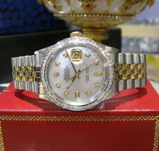Mens ROLEX Oyster Perpetual Datejust Diamonds Mother-of-Pearl White Gold Watch