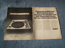 1976 Sony Direct Drive Turntable 2pg Vintage Ad Record Player