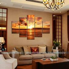 5pc/set Large Seaside Sunset Unframed HD Canvas Print Wall Art Picture Poster #2