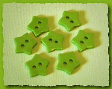7 BOUTONS étoile vert anis 14 mm 1,4 cm 2 trous * Button sewing neuf lot couture