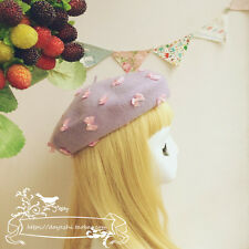 Mori Girl Beret Cap Japanese Sweet Lolita Purple Bowknot Winter Wool Painter Hat