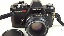 VINTAGE KONICA AUTOREFLEX TC BLACK BODY 35mm CAMERA w/ 50mm f1.7 HEXANON LENS