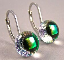 "DICHROIC Earrings Clear Yellow Green Eurowire Lever Surgical Dangle 1/4"" 7mm"
