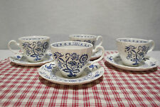 LOT of 4 SETS Cups and Saucers Johnson Bros. England Blue Nordic / Onion   MINT!