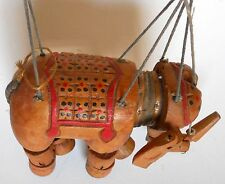 Antique India,Indian Wood Wooden ELEPHANT,Hand Carved,MARIONETTE,PUPPET