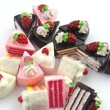 12pcs Mixed color Resin Strawberry Cake sweets flat back cabochon
