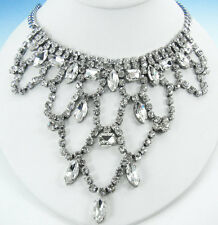 FOREVER 4VR by Fallon Silver-Tone Princess Crystal Bib NECKLACE 18""
